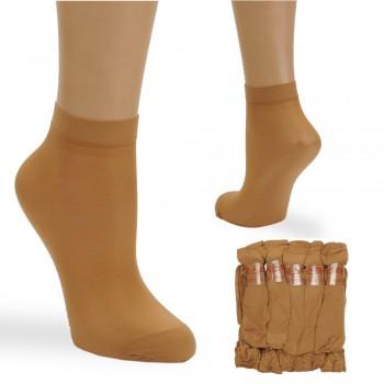 носки женские капронки 3107 безразмерные с тормозами темный-беж - бижутерия оптом Arkos.