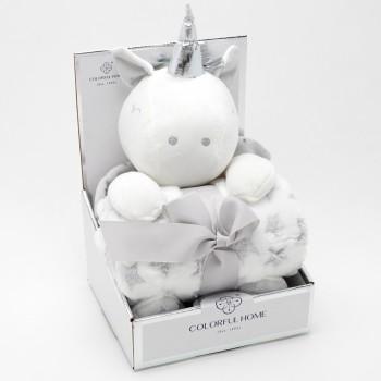 Плед игрушка 2в1 Единорожка 23997 цвет серый  - бижутерия оптом Arkos.