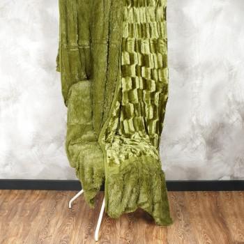 Плед норка-травка двухсторонний (p.220 x 240 cm) 20795 оливка - бижутерия оптом Arkos.