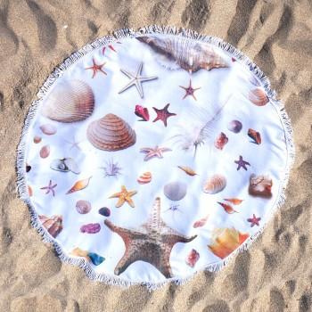 Полотенца пляжные круглые 3250 (Ø 150 см) ракушки - бижутерия оптом Arkos.