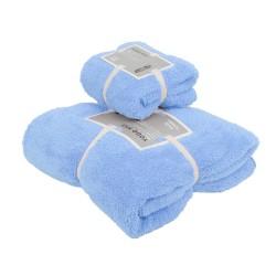 Комплект полотенец кухня-баня 4397 голубой в органзе  1