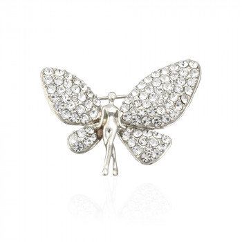 брошь металлическая Ангел с крыльями 5939 - бижутерия оптом Arkos.