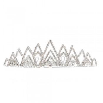 диадема-гребень с белыми стразами (металл) 10943 - бижутерия оптом Arkos.