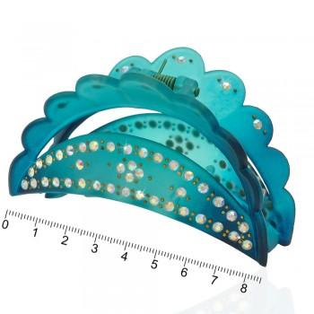 заколка краб для волос пластиковый со стразами 10598 - бижутерия оптом Arkos.