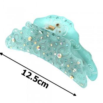 заколка краб для волос из французского пластика со стразами 8091 - бижутерия оптом Arkos.