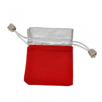 мешочек подарочный велюровый красный 12985 - бижутерия оптом Arkos.