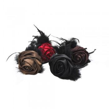 обруч для волос металлический  с цветком и перьями 10654 - бижутерия оптом Arkos.