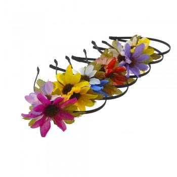 обруч для волос металлический с двойным цветком 5835 - бижутерия оптом Arkos.