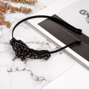 обруч для волос с украшениями из страз 8624 - бижутерия оптом Arkos.