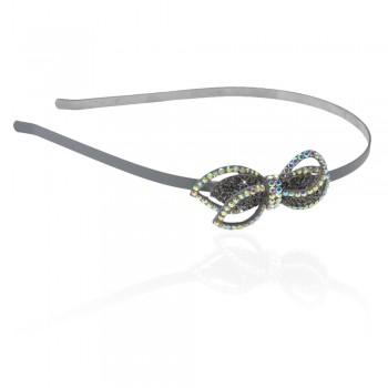 обруч для волос металлический с украшением из страз 3812 - бижутерия оптом Arkos.