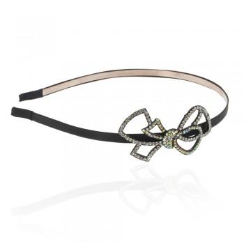 обруч для волос металлический с украшением из страз 5763 - бижутерия оптом Arkos.