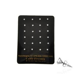 серьги-гвоздики пусеты с кубическим цирконием ø2.2мм 13696 1