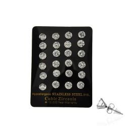 серьги-гвоздики пусеты с кубическим цирконием ø7мм 13701 1