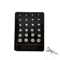 серьги-гвоздики пусеты с кубическим цирконием ø2.2-7мм 13702 1