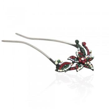 шпилька для волос металлическая с украшениями из страз 1836 - бижутерия оптом Arkos.
