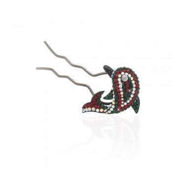 шпилька для волос металлическая с украшениями из страз 1844 - бижутерия оптом Arkos.