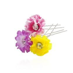 шпильки для волос с тканевым цветком