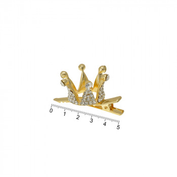 заколка-уточка с коронкой металлическая 13783 - бижутерия оптом Arkos.