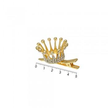 заколка-уточка с коронкой металлическая 13785 - бижутерия оптом Arkos.