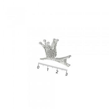 заколка-уточка с коронкой металлическая 13790 - бижутерия оптом Arkos.