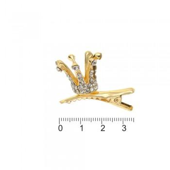 заколка-уточка с коронкой металлическая 14057 - бижутерия оптом Arkos.