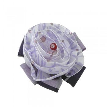 заколка уточка-брошка 3545 с тканевым цветком и стразами - бижутерия оптом Arkos.