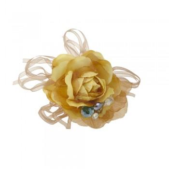 заколка-уточка для волос 4692 с тканевым цветком  - бижутерия оптом Arkos.