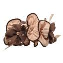 резинка для волос шифоновая объемная с цветками и жемчугом 4177 3