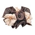 резинка для волос шифоновая объемная с цветками и жемчугом 4177 4
