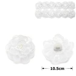 резинка-бант для волос белый с цветком 9991 1