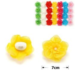 резинка-бант цветной с цветком и бусинкой 3651 1