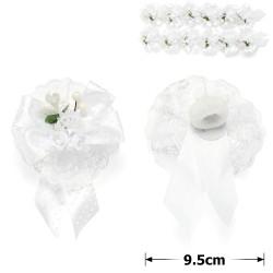 резинка-бант с белыми цветками и ленточками 9790 1