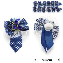 резинка-бант с синими цветками и ленточками 9792 1