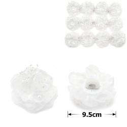 резинка-бант белый с бусинами 15856 1