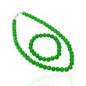 Набор подвески и браслета из бусин зелёного цвета Ø5мм 14636