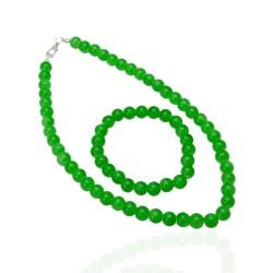 Набор подвески и браслета из бусин зелёного цвета Ø5мм 14636 1