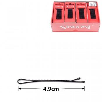 заколки-невидимки для волос ребристые 4.9см чёрные 00397 - бижутерия оптом Arkos.