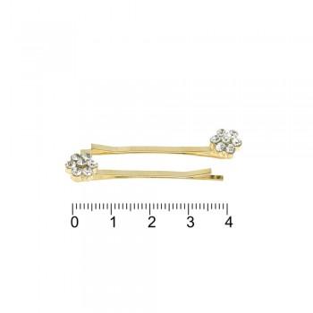 заколки-невидимки золотистого цвета со стразами 11745 - бижутерия оптом Arkos.