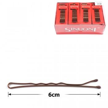 заколки-невидимки для волос волнистые 6см коричневые 14181 - бижутерия оптом Arkos.