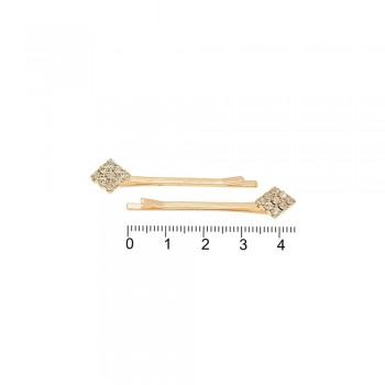 заколки-невидимки золотистого цвета со стразами 14977 - бижутерия оптом Arkos.