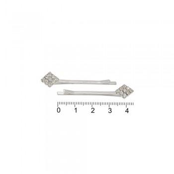 заколки-невидимки серебристого цвета со стразами 15014 - бижутерия оптом Arkos.