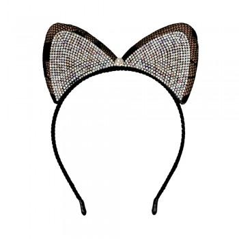 обруч для волос кошачьи ушки со стразами 13605 - бижутерия оптом Arkos.