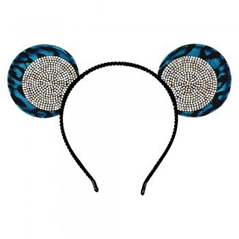 обруч для волос ушки микки-мауса со стразами 13608 - бижутерия оптом Arkos.