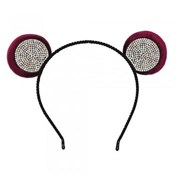 обруч для волос ушки микки-мауса со стразами 13611 - бижутерия оптом Arkos.