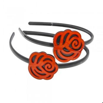 обруч для волос пластиковый с цветком 1533 - бижутерия оптом Arkos.