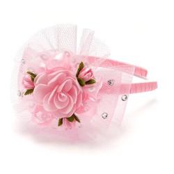 обруч-бант для волос с сеточкой и цветком 5415 1