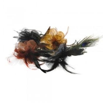 обруч для волос металлический с перьями 8145 - бижутерия оптом Arkos.