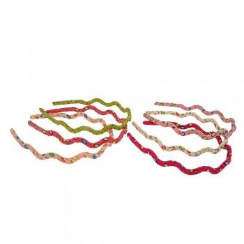 обруч для волос волна с принтом горошек 8196 - бижутерия оптом Arkos.