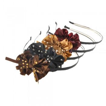 обруч для волос металлический с бантом и стразами 9988 - бижутерия оптом Arkos.