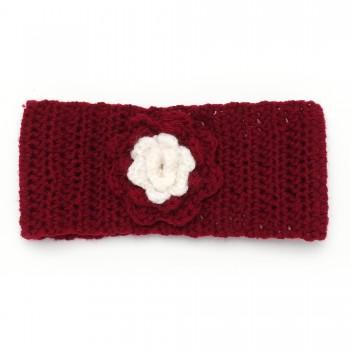 повязка на голову вязанная с цветком 15925 - бижутерия оптом Arkos.
